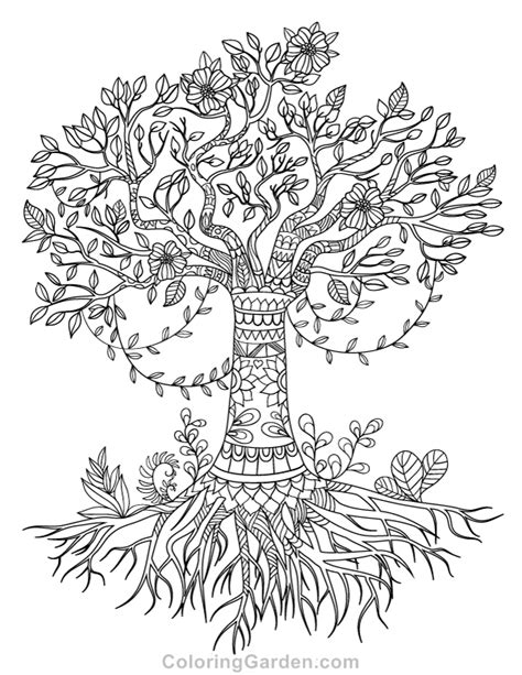 tree coloring page pdf free printable tree of life adult coloring page download