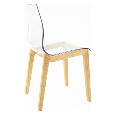 Plastic Dining Chairs Uk Clear Plastic Dining Chair With Wood Legs From Fusion Living