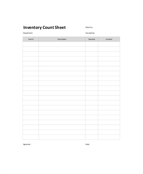 stock count template inventory count sheet template 7 free word pdf