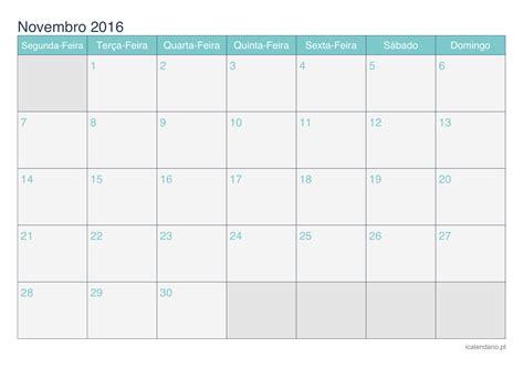 Calendario Semanal 2016 Calend 225 Novembro 2016 Para Imprimir Icalend 225 Pt