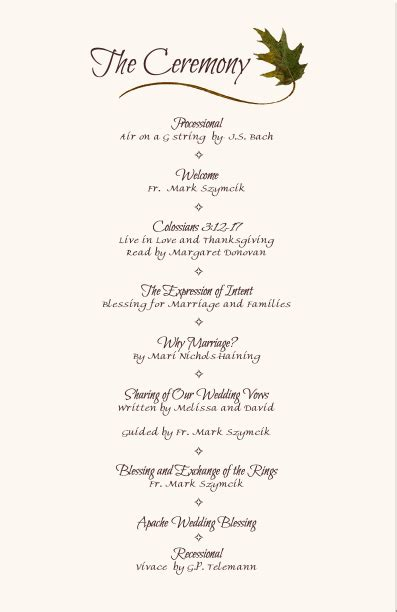 Wedding Program Wording Examples Simple