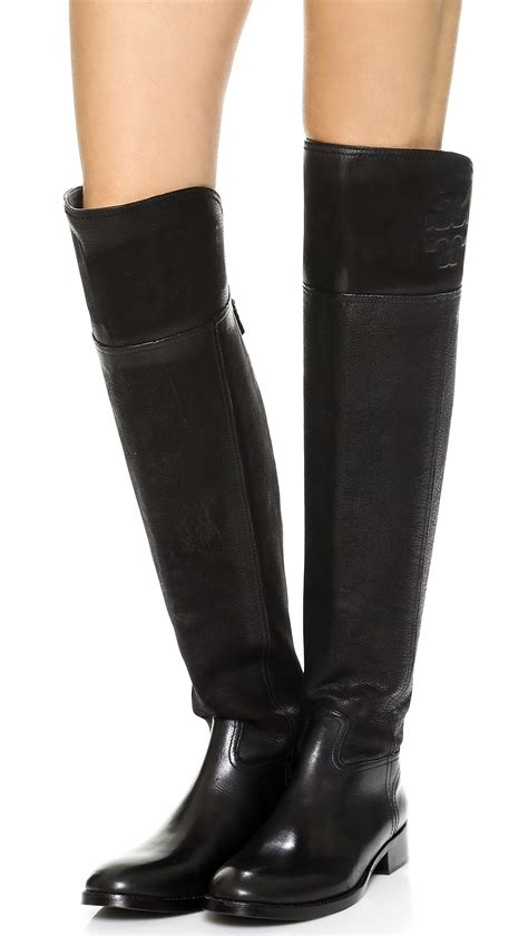 above knee boots lyst burch the knee flat boots black in