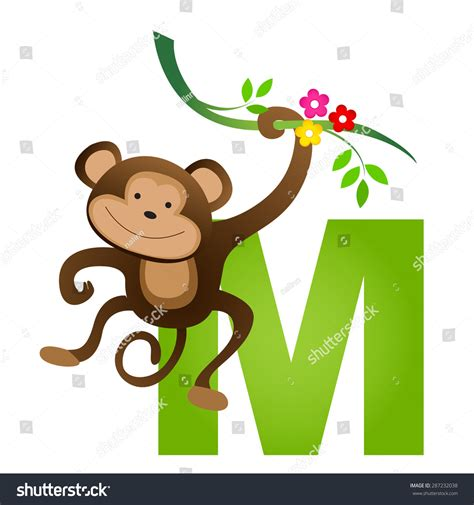 words of alphabet m mustaches and monkey free alphabet colorful animal alphabet letter m cute stock vector