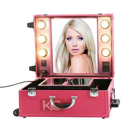 Penyimpan Tas Cosmetic Box Black professional travel trolley makeup lighting