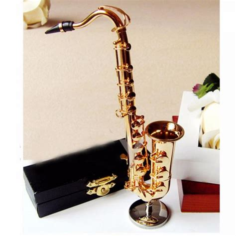 1 x 16cm brass model saxophone ornament christmas home