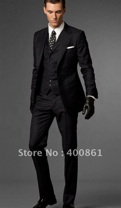 Black Stripe Slim Fits Groom Tuxedos Best man Suit Wedding