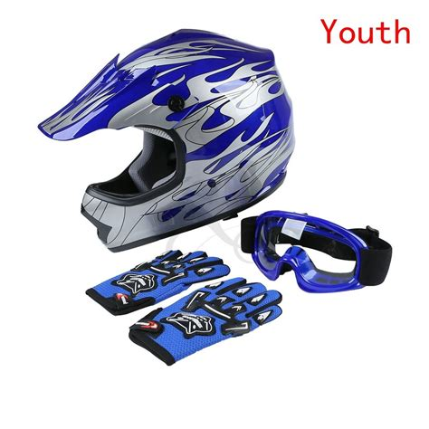 motocross helmets youth new dot youth blue flame dirt bike atv mx motocross helmet