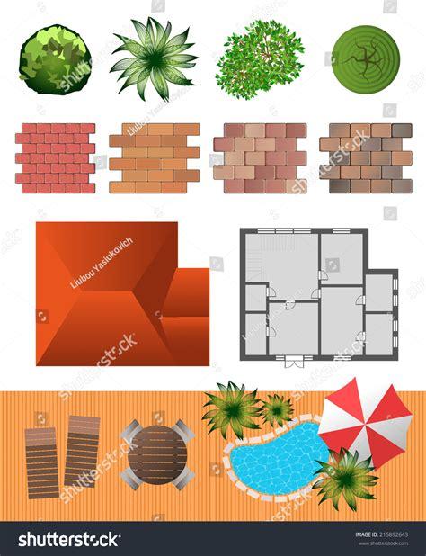 landscape design elements vector illustration detailed landscape design elements make your stock vector