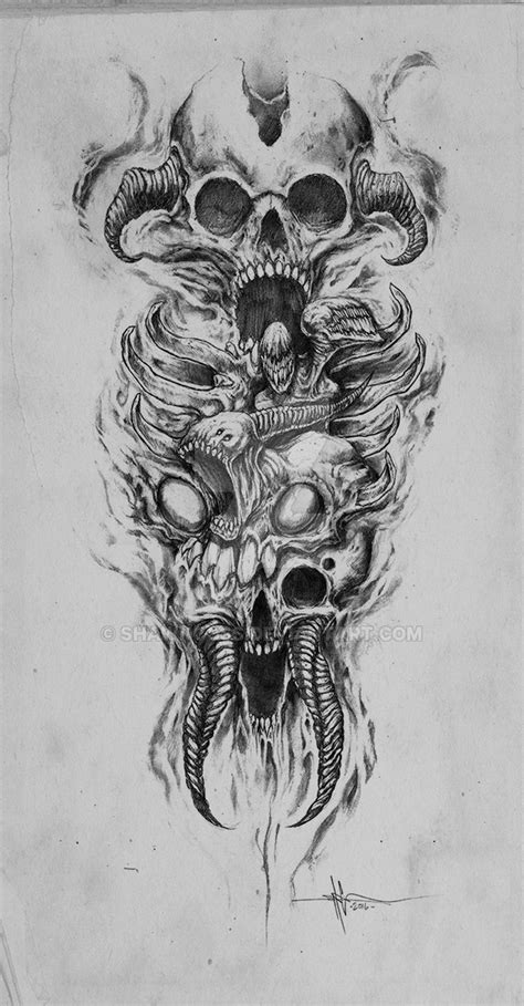 skully demon abomination sleeve by shawncoss on deviantart