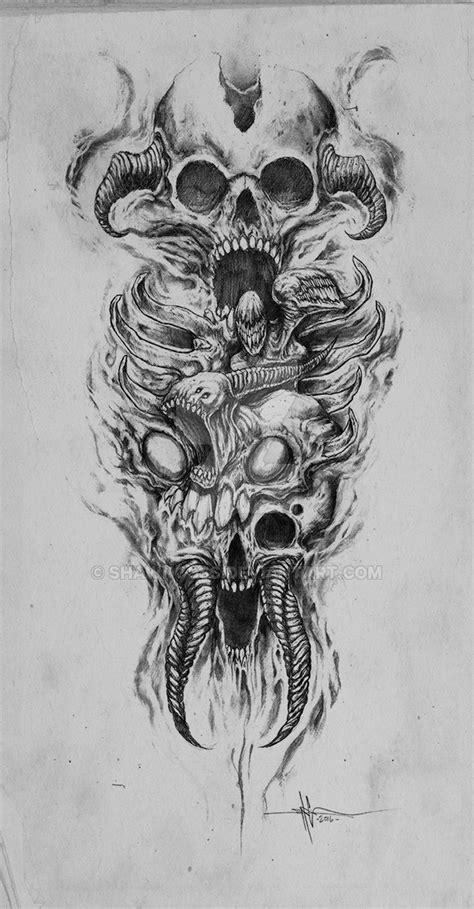 skully demon abomination sleeve by shawncoss on deviantart