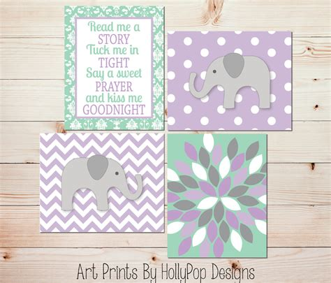 Mint Green Nursery Decor Baby Nursery Read Me A Story Purple Mint Green