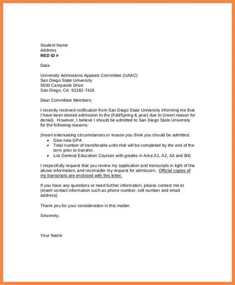 how to write a letter of appeal academic appeal letter resume exles