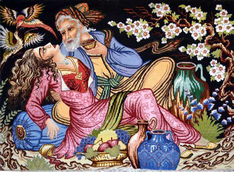 Wool Rug Round Omar Khayyam Wool Persian Tableau Rug Pictorial Carpet