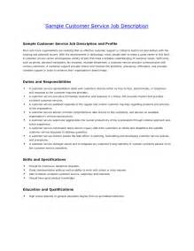 Career Overview Exle For Customer Service by Customer Service Resume Description Resume Exles 2017