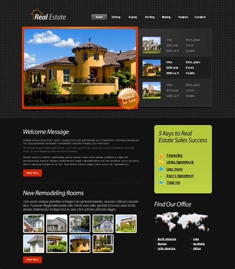 Web Design Blog 187 Free Xhtml Css Templates For Different Websites Real Estate Website Templates Free