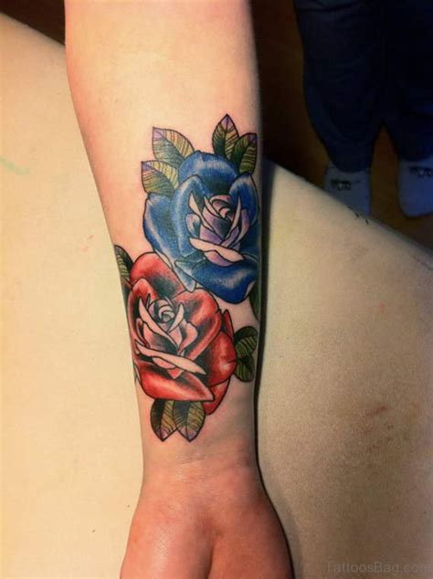 colored rose tattoos 52 wrist colorful designs