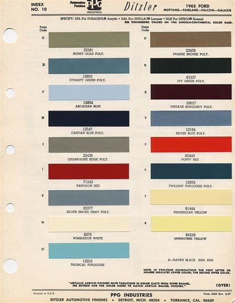 1965 mustang exterior paint codes cool i d to one of these salesman s books