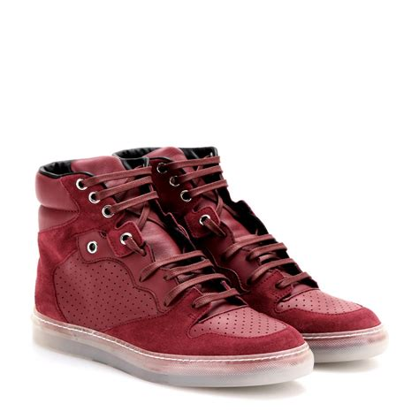 balenciaga sneakers balenciaga leather and suede hightop sneakers in lyst