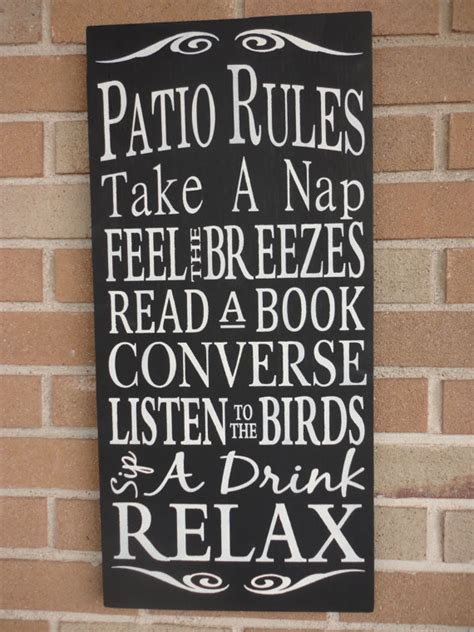 home decor sign patio rules sign housewares home decor typography by