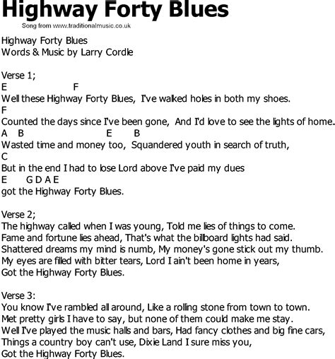 blue song you and me lyrics country song lyrics with chords highway forty blues