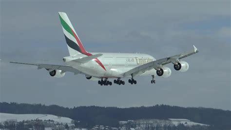 emirates zurich airport emirates airbus a380 800 snowy landing at zurich airport