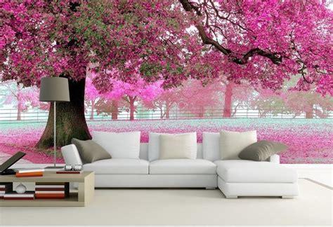 wallpaper bedroom mural roll romantic purple tree wall