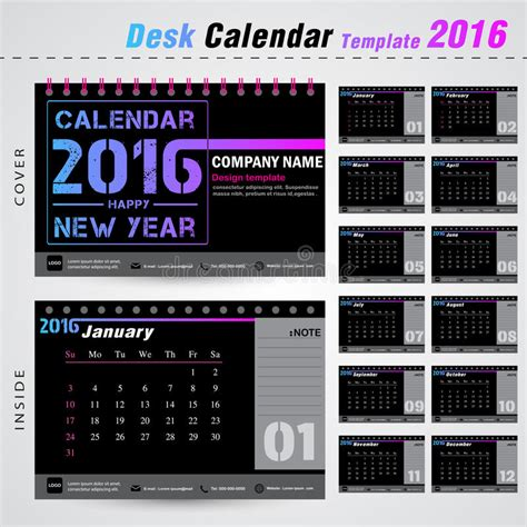 Modern Desk Calendar Desk Calendar 2016 Modern Design Template For New Year Office Stock Vector Image 64050362