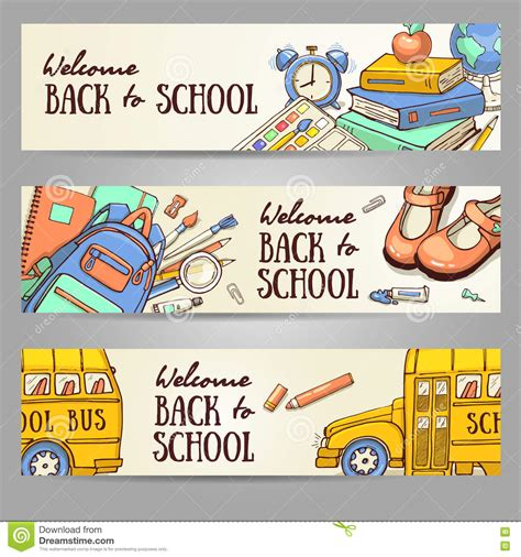 Sketch Banner Template With School Object Vector Illustration Cartoondealer Com 73003336 Z Banner Template