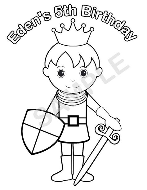 Personalized Printable Princess Prince Knight Birthday Personalized Coloring Pages
