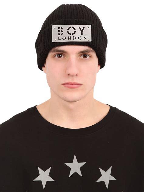 Boy Hat boy boy plaque wool blend knit beanie hat in black