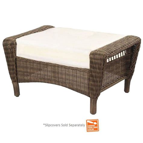 outdoor wicker chairs with ottomans hton bay spring haven grey wicker patio ottoman with
