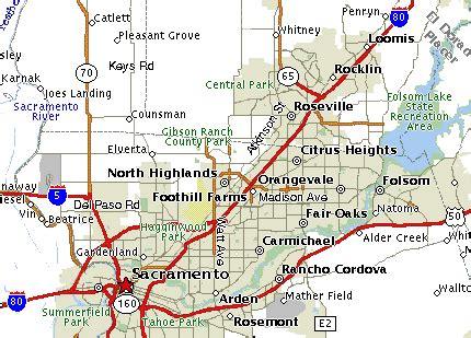 map of sacramento area sacramento area maps