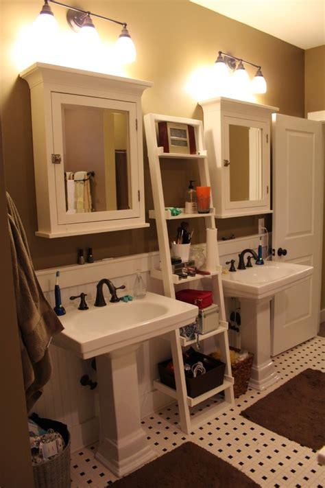 cottage bathroom  add  bathroom ladder shelf