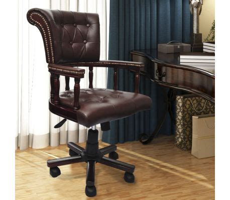 Brown Real Leather Chesterfield Captains Swivel Office Leather Captains Swivel Chair