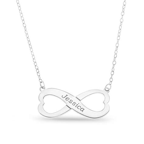 shaped infinity necklace in sterling silver 1 line