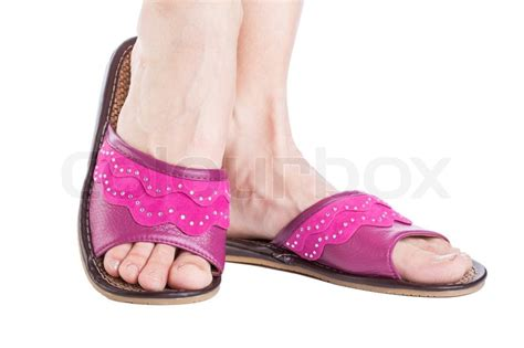 pink house slippers a woman feet of pink house slippers stock photo colourbox