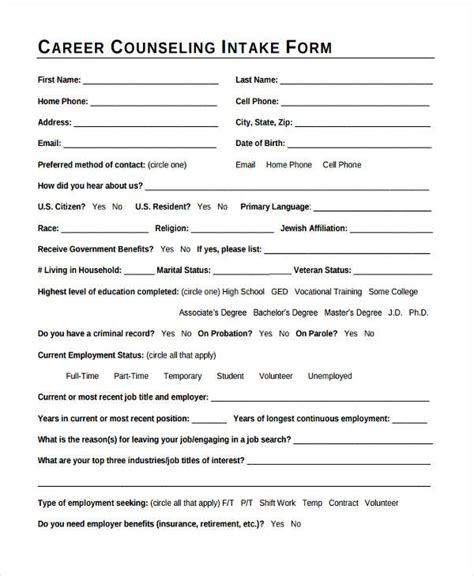 38 Counseling Forms In Pdf Intake Form Template For Counseling