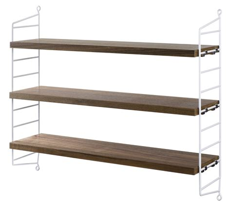 string pocket shelf white walnut shelves by string furniture