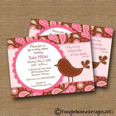 Baby Shower Christian by Bird Baby Shower Invitation Baby Diy Printable Quot Pink