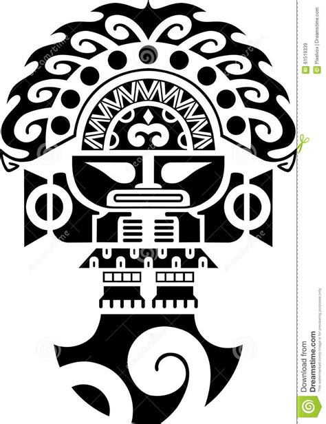 tumi tribal ceremonial knife inca culture illustration