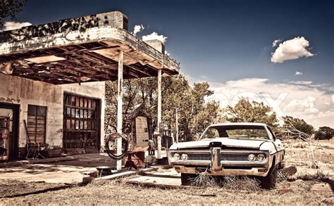 3 Car Garage Home Plans Abandoned Restaraunt On Route 66 In New Mexico Stock
