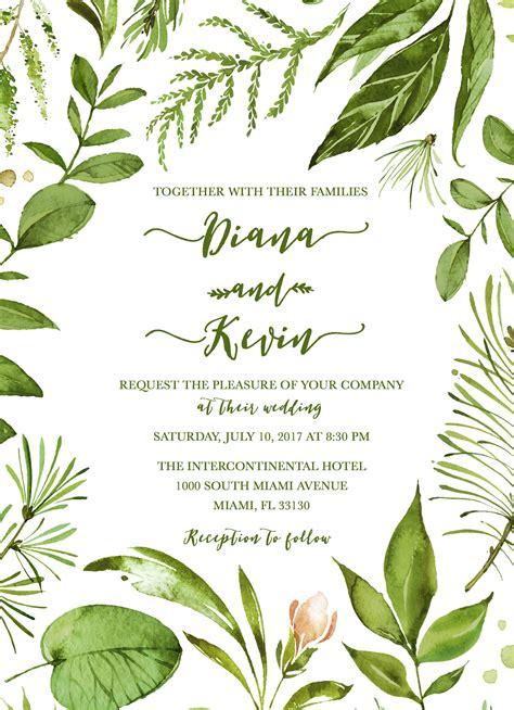 Green Wedding Invitations by Leaf Wedding Invitation Green Wedding Invitation Leaf