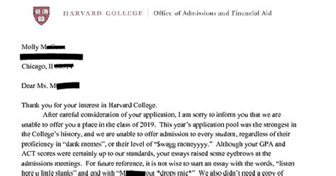 Decline Letter From Harvard Harvard Rejection Letter Memes