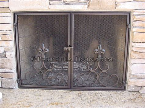 inside fit fireplace doors perpetua iron screens custom made to fit your