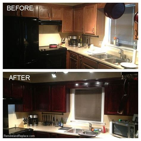 Kitchen Cabinet Restaining Kitchen Cabinets Restained For 20 Dollars Used Bombay Mahogany Minwaz Poly Stain And