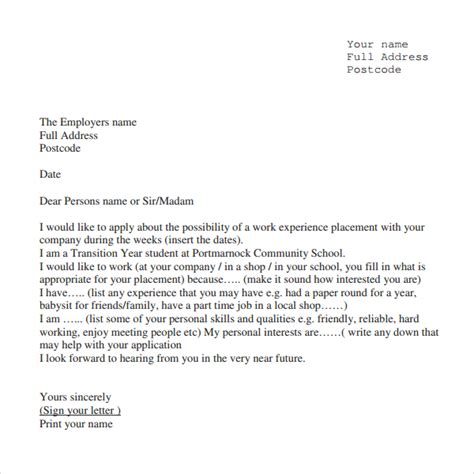 Work Experience Letter Sle Sle Experience Letter 9 Documents In Pdf Word
