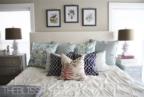 neutral master bedroom with pops of color contemporary master bedroom reveal the blissful bee