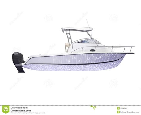 motorboot zeichnen fish boat isolated side view stock illustration image