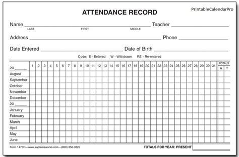 employee attendance tracker template free attendance printable calendar template printable
