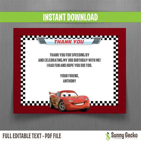 Free Printable Disney Cars Thank You Cards disney cars birthday thank you cards instant